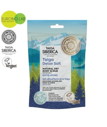 Wegański, złuszczający suchy peeling do ciała z detoksykującą solą z Tajgi, 250ml Taiga Siberica