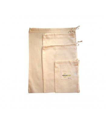 SAKWABAG Ekologiczne wielorazowe woreczki na produkty sypkie 100% bawełna organiczna 4szt zestaw