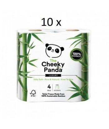 10 x THE CHEEKY PANDA 100% Bambusowy Papier toaletowy trzywarstwowy - 4 rolki