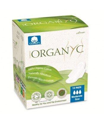 ORGANYC Podpaski higieniczne ze skrzydełkami na dzień, pakowane pojedynczo 10 szt.