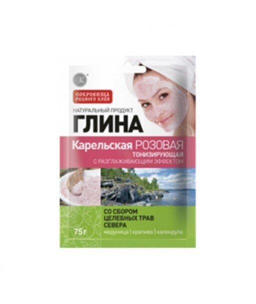 Glinka karelska - różowa - tonizująca (efekt wygładzający) - z dodatkiem ziół - miodunka, pokrzywa, nagieteku 75g