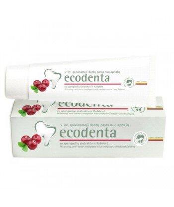 ECODENTA - PASTA DO ZĘBÓW 2w1 - PRZECIW KAMIENIOWI nazębnemu z ekstraktem żurawinowym i bioktywnym wapniem, 100 ml