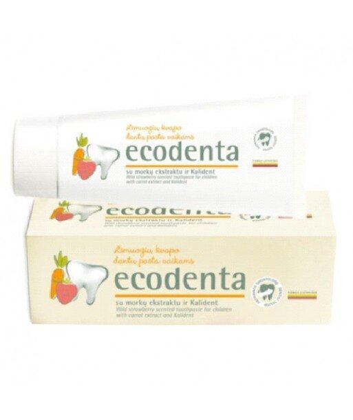 ECODENTA - PASTA DO ZĘBÓW DLA DZIECI O SMAKU POZIOMKI z ekstraktem z marchwii i bioaktywnym wapniem. 75 ml
