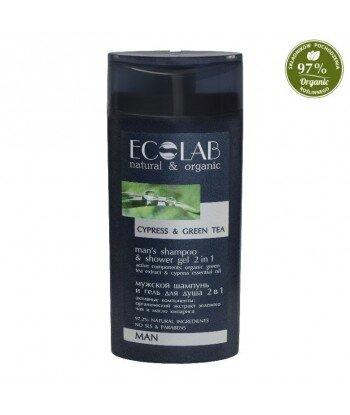Szampon i żel pod prysznic 2 w 1 dla mężczyzn - imbir, zielona herbata, cyprys, 250ml - EC Lab MAN