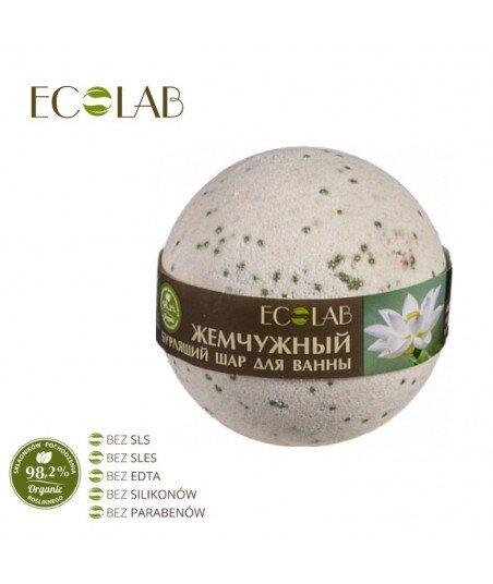Kula musująca do kąpieli - naturalna - PERŁOWA - soda oczyszczona, organiczny olej z pestek winogron, z białego lotosu, 220g