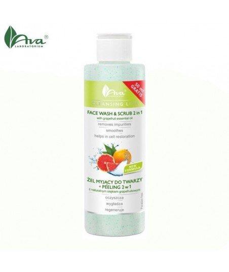 Żel myjący do twarzy + peeling 2w1 z naturalnym olejkiem grapefruitowym - AVA