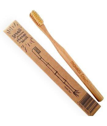 Bambusowa szczoteczka do zębów Mohani - naturalna, włosie średnie