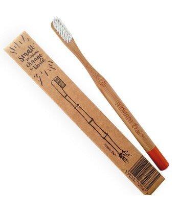 Bambusowa szczoteczka do zębów Mohani - pomarańczowa, włosie miękkie