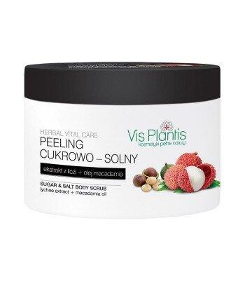 Vis Plantis - Peeling cukrowo - solny, ekstrakt z liczi + olej macadamia, 200 ml