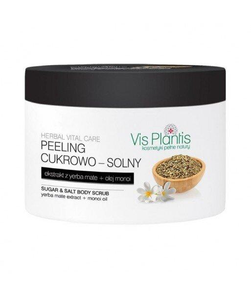 Vis Plantis - Peeling cukrowo - solny, ekstrakt z yerba mate + olej monoi, 200 ml