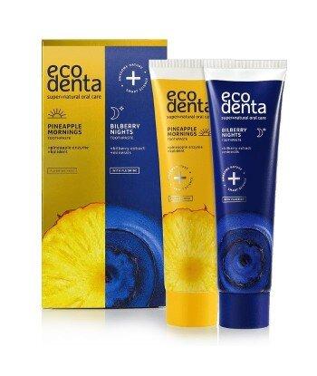 ECODENTA - Ananasowa pasta do zębów na dzień + Borówkowa pasta do zębów na noc , 2x100 ml