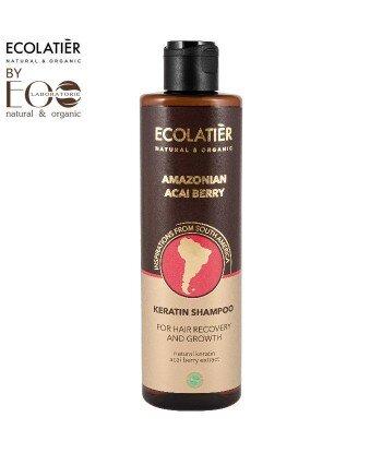 Keratynowy szampon do włosów Regeneracja i wzrost AMAZONIAN ACAI BERRY, 250 ml, ECOLATIER