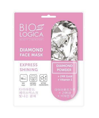 """BIOLOGICA DIAMOND Maska do twarzy w płachcie """"Ekspres promienność"""" z proszkiem diamentowym"""