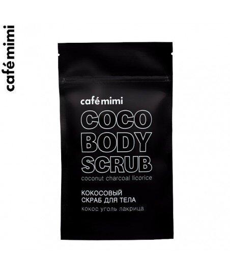 Kokosowy peeling do ciała - Kokosowy węgiel drzewny i Lukrecja, 150 g - CAFE MIMI
