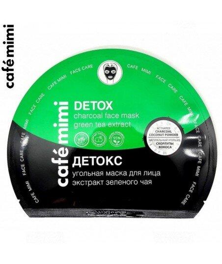 Węglowa maska na twarz w płachcie - Detox - wszystkie typy skóry, 22 g - CAFE MIMI