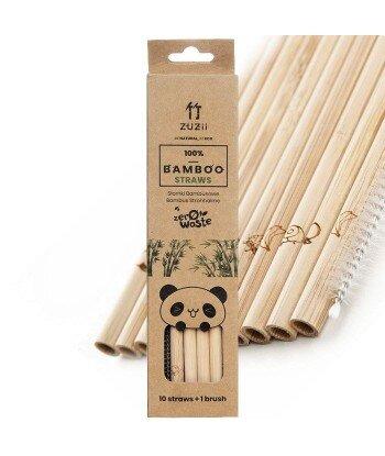 Wielorazowe słomki bambusowe 10 szt. + czyścik