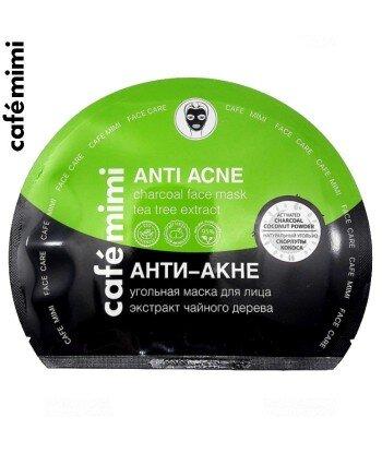 Węglowa maska przeciwtrądzikowa w płachcie na twarz - do skóry problematycznej, 22 g - CAFE MIMI