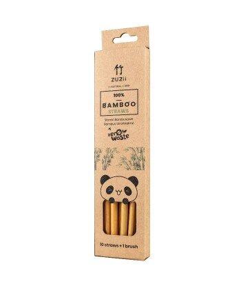 Wielorazowe bambusowe słomki do picia z czyścikiem 10 szt.
