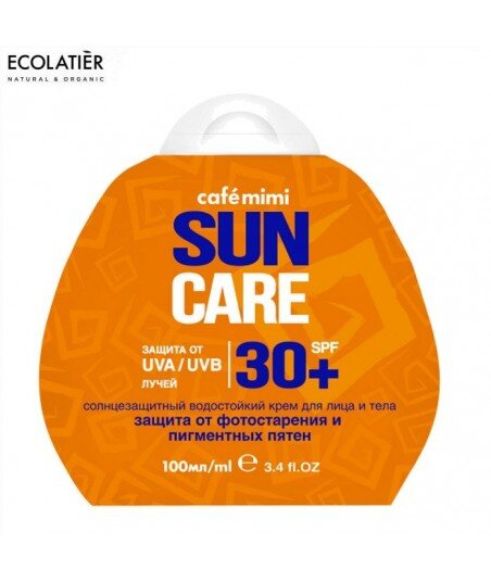 Przeciwsłoneczny krem do twarzy i ciała SPF+30 Ochrona przed fotostarzeniem i plamami pigmentacyjnymi, 100ml - CAFE MIMI