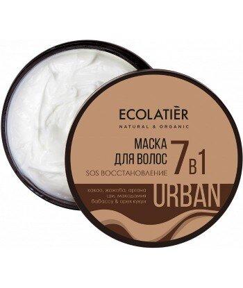 Regenerująca maska SOS do włosów 7w1 Kakao i jojoba, 380 ml, ECOLATIER URBAN