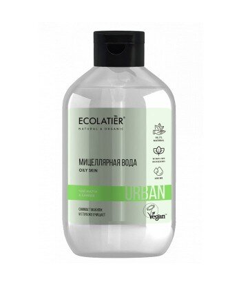 Woda micelarna do demakijażu dla wrażliwej skóry Herbata Matcha i bambus, 600 ml, ECOLATIER URBAN