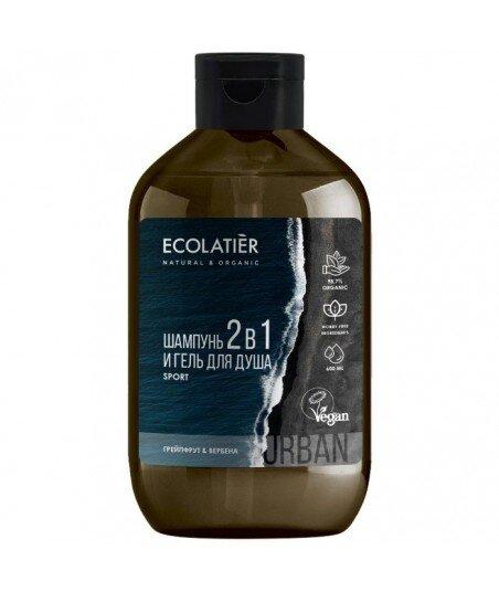 SPORT Szampon i żel pod prysznic 2w1 dla mężczyzn Grejpfrut i werbena, 600 ml, ECOLATIER URBAN