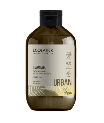 Szampon do włosów suchych Odżywczy Awokado i malwa, 600 ml, ECOLATIER URBAN