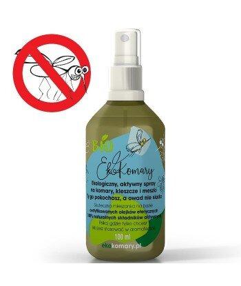Ekologiczny, aktywny spray na komary, kleszcze i meszki, 100 ml