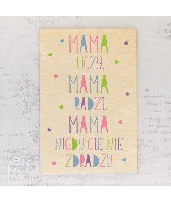 Mama uczy, mama radzi - drewniana kartka pocztowa