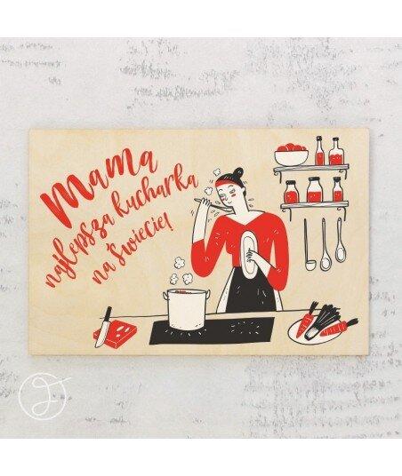 Najlepsza kucharka - drewniana kartka pocztowa