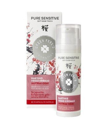 Krem do twarzy na noc z ekstraktem z kwiatu wiśni Sakury Japońskiej do cery wrażliwej 50ml GREEN FEEL'S
