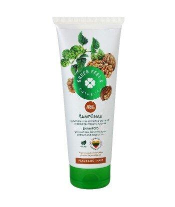 Odżywczy szampon do włosów z ekstarktem z orzecha włoskiego i drożdży piwowarskich 250ml, GREEN FEEL'S