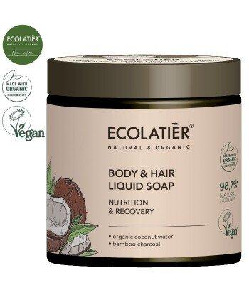 COCONUT Mydło do ciała i włosów ODŻYWIANIE I REGENERACJA, 350 ml ECOLATIER