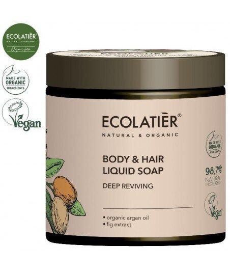 ARGAN Mydło w płynie do ciała i włosów GŁĘBOKO ODŻYWIAJĄCE, 450 ml ECOLATIER