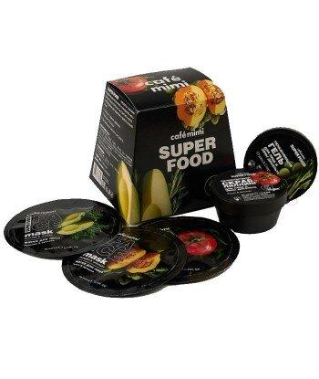 Cafe Mimi zestaw podarunkowy do twarzy SUPER FOOD, Peeling do twarzy 50ml, żel pod prysznic 50ml i 3 maseczki do twarzy 3x10ml