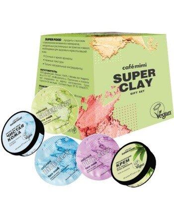 Cafe Mimi zestaw podarunkowy SUPER CLAY, peeling do twarzy 50 ml, maska 3 szt.x 10ml, Krem do twarzy 50 ml