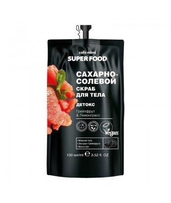 Cukrowo-solny peeling do ciała Detox, Grejpfrut i Trawa Cytrynowa, 100 ml - CAFE MIMI