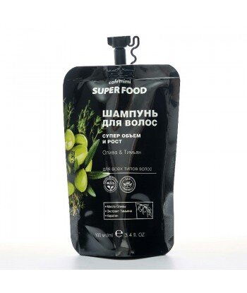 Szampon do włosów, Oliwa i Tymianek, Super objętość i wzrost, 100 ml - CAFE MIMI