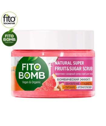 FITO BOMB Cukrowy Super Peeling do Ciała Odnowa + Gładkość + Odżywienie + Aromaterapia, 250ml - Fitokosmetik
