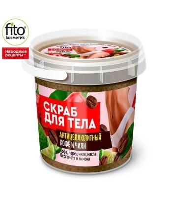Peeling antycellulitowy do ciała Kawa i papryczki chili, 155 ml - Fitokosmetik