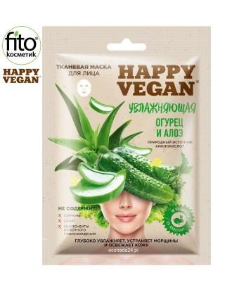 Happy Vegan maska tkaninowa do twarzy, nawilżająca, Ogórek & Aloes 25 ml
