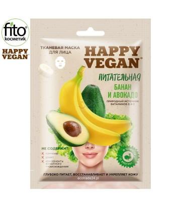 Happy Vegan maska tkaninowa do twarzy, odżywcza, Banan & Awokado 25 ml