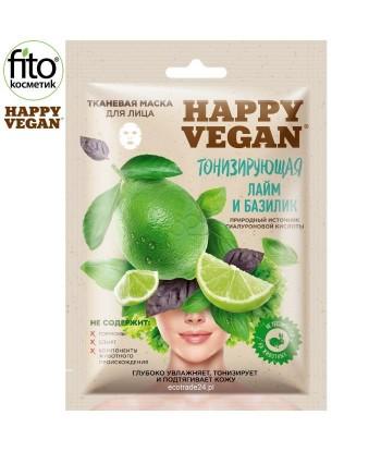 Happy Vegan maska tkaninowa do twarzy,odświeżająca, Limonka & Bazylia 25 ml