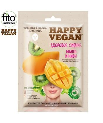 Happy Vegan maska tkaninowa do twarzy,rozświetlająca, Mango & Kiwi 25 ml