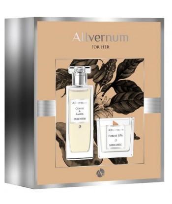Zestaw prezentowy Allvernum Coffee & Amber woda perfumowana 50ml i Świeca Forest SPA 100g